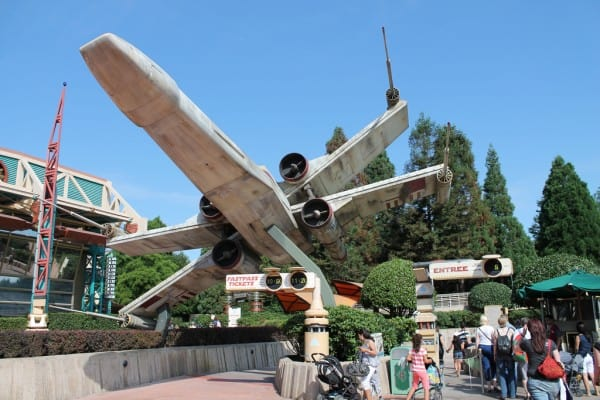 X-Wing infront of Star Tours in Discoveryland