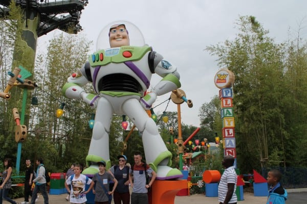 Buzz Lightyear at entrance to Toy Story Playland