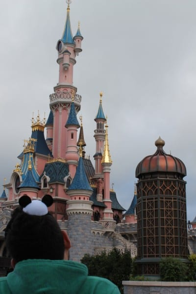 Infront of Sleeping Beauty's Castle in Disneyland Paris