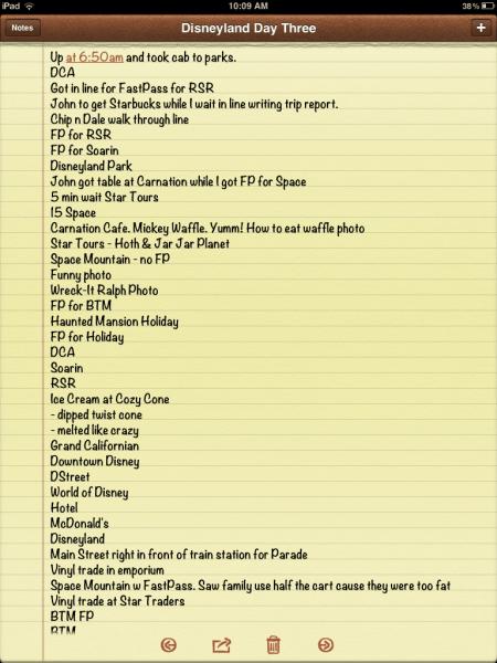 Disney Trip Report on the iPad