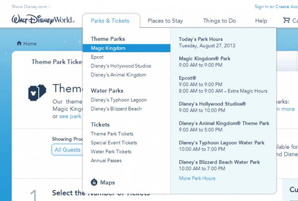 Walt Disney World Park Menu