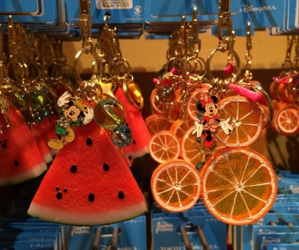 Mickey and Minnie Watermelon and Orange Keychains